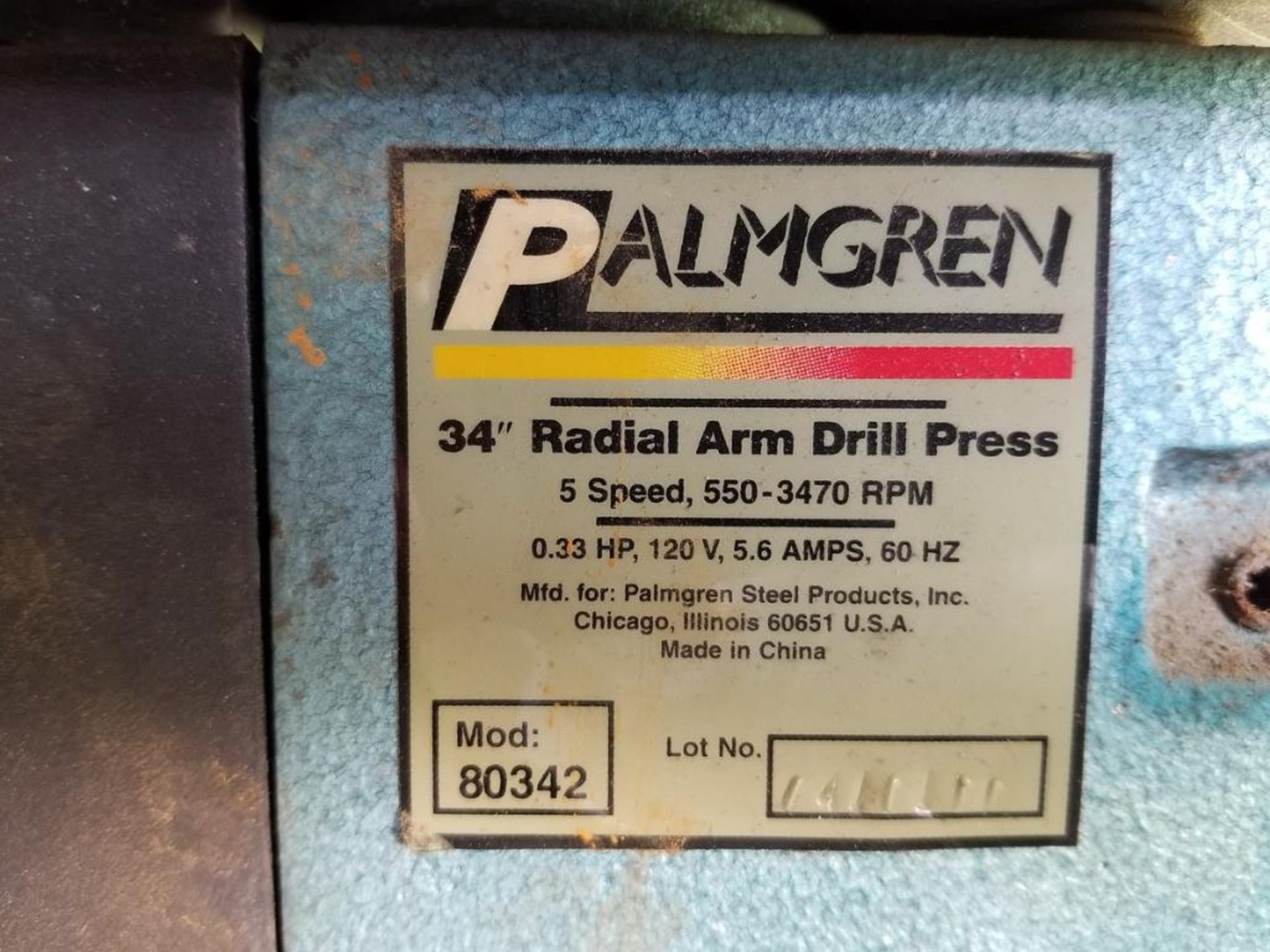 Lot 21 - Palmgren Mdl. 80342 Radial Arm Drill Press