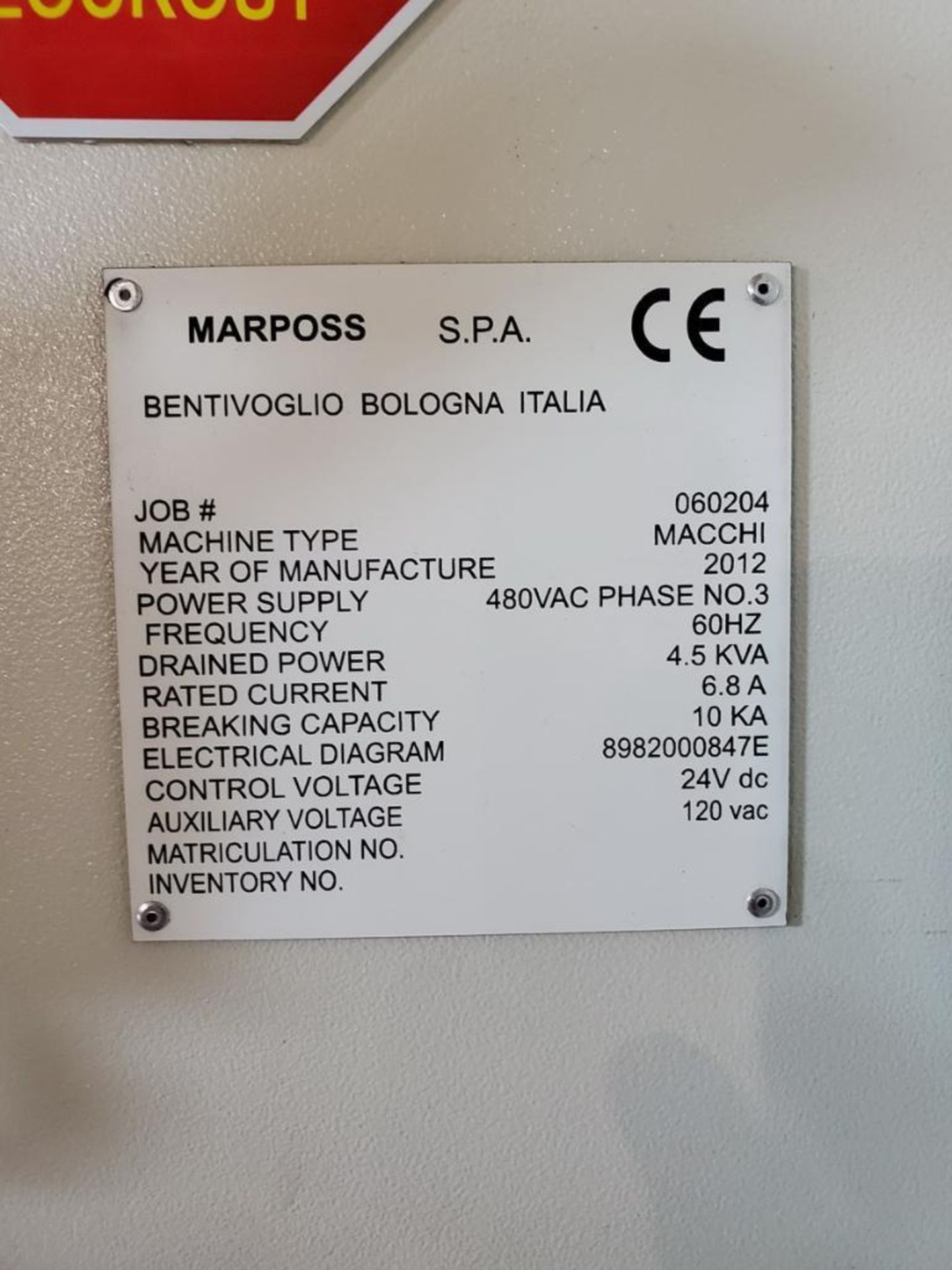 Lot 14 - 20112 Marposs Macchi