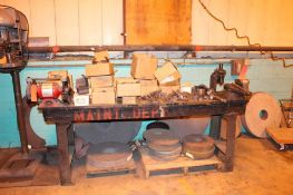 """Worktable with Dayton Model NO. 7500 8"""" Bench Grinder & Wilton 840BVice"""