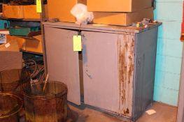 2 door cabinet with contents