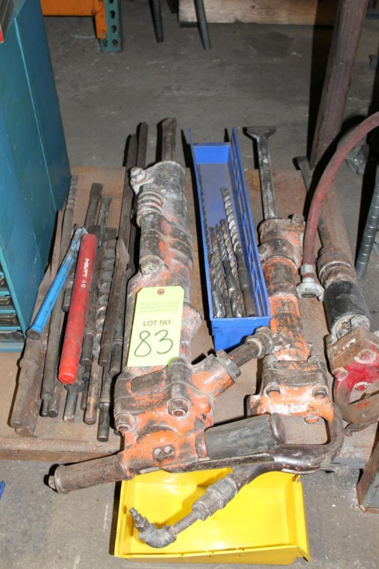 Lot of Air Chisels and Attachments