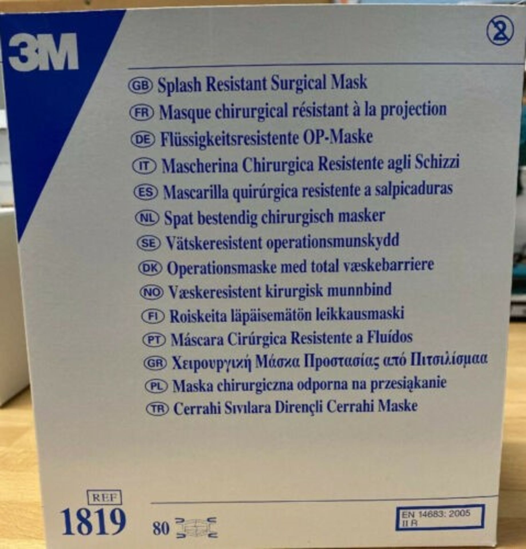 Lot 1 - 3M 1819 4PLY SURGICAL TIE-ON FACE MASK (80 Masks Per Box)