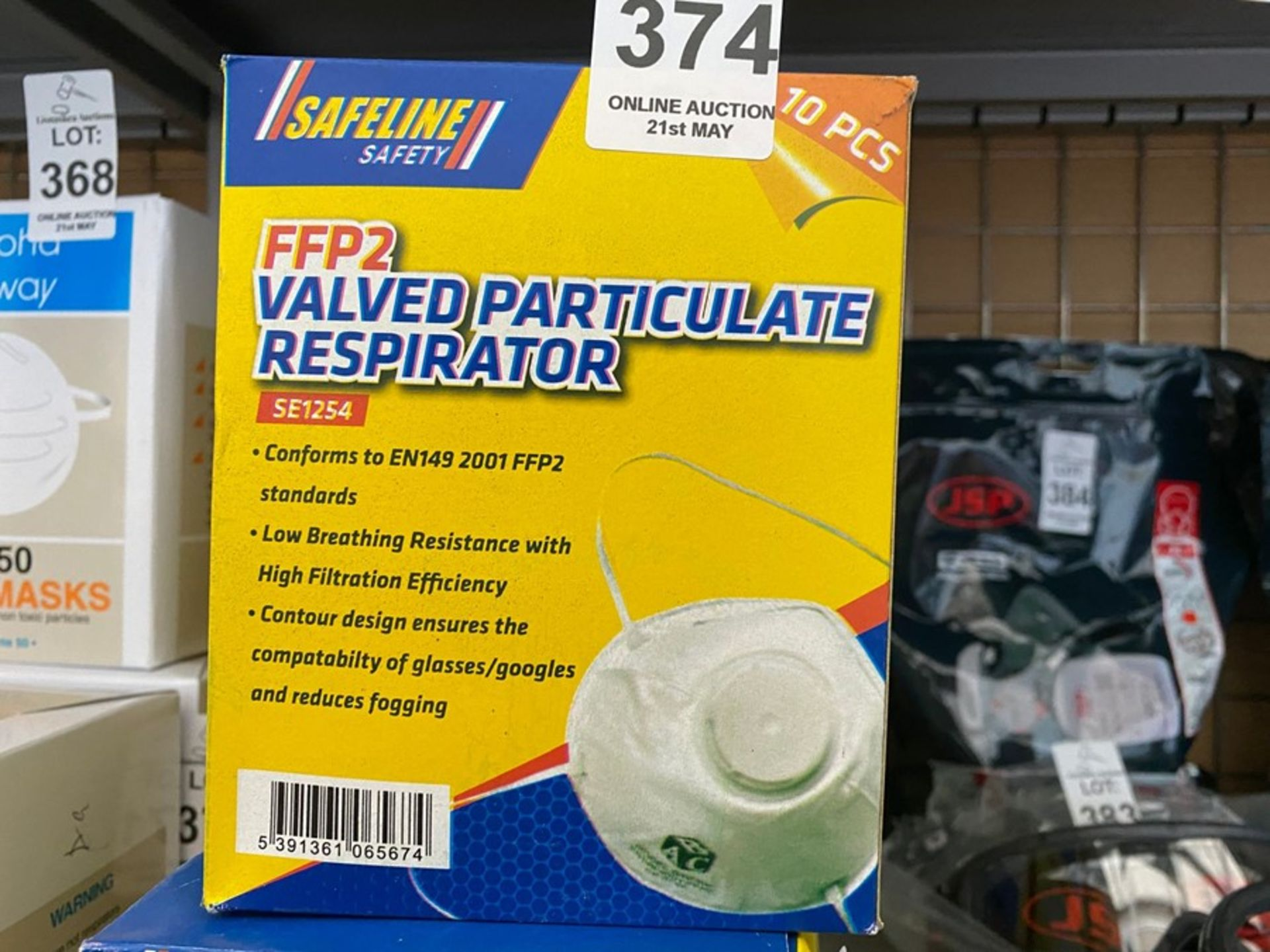 Lot 374 - 10X SAFELINE FFP2 VALVED DUST MASK