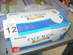 BOX OF 50 MACROCARE FACE MASKS