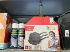 BOX OF ROYAL SWISS NEW FORGE 3 FRYING PANS