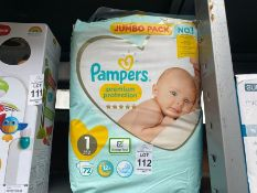 JUMBO PACK OF PAMPERS NAPPIES (SIZE 1)