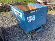 BLUE FORKLIFT TIPPING SKIP WITH WHEELS