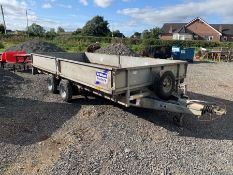 IFOR WILLIAMS TWIN AXLE TRAILER WITH 4X NEW RIMS & TYRES + SPARE TYRE (14FT X 6.5FT)