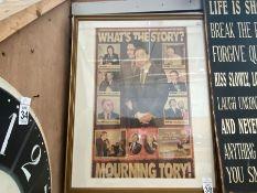 FRAMED TORY NEWSPAPER CUTTING