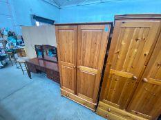 PINE 2 DOOR 1 DRAWER WARDROBE