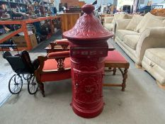 CAST IRON RED POST BOX WITH KEY