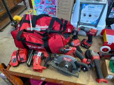 6 PIECE MILWAUKEE FULL KIT IMPACT DRILL,SAW,ANGLE GRINDER, TORCH, JIGSAW + 3 BATTERIES CHARGER AND