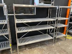 LARGE STAINLESS STEEL 4 TIER CATERING SHELVING UNIT