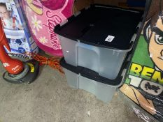 2 LARGE PLASTIC STORAGE BOXES WITH LIDS