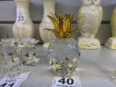 SWAROVSKI CRYSTAL PINEAPPLE WITH GOLD COLOURED METAL LEAVES