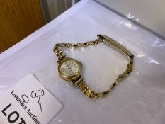 9 CARAT GOLD INGERSOLL LADIES WATCH WITH GOLD PLATED BRACELET