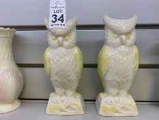 PAIR OF BELLEEK BROWN STAMP OWL VASES