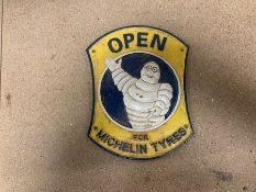 "MICHELIN TYRES ""OPEN"" CAST IRON SIGN"