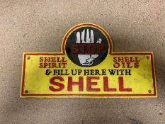 """STOP"" SHELL OILS CAST IRON SIGN"