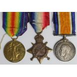 1915 Star Trio to M.171 J Prout E.R.A.2.RN. Born Haverford West, Pembrokeshire. (3)