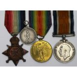 1914 Star Trio to 7570 Private F J Field ASC., together with a white metal medallion award of
