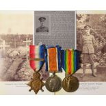 1914 Star with original Aug-Nov clasp, BWM & Victory Medal, to 1465 Pte C R Fowler HAC. (HAC-INF
