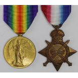 1915 Star and Victory Medal to B-3014 L.Cpl J T Holmes Rifle Brigade. Died of Wounds 10/7/1915