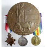 1915 Trio & Memorial Plaque to 15391 Pte Stanley Dowsing, 8th Bn Suffolk Regt. KIA 13.05.17 at