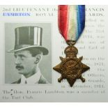 1914 Star named (2.Lt: Hon: F E Lambton R.H.Gds). Killed In Action sometime between 25th or 30th