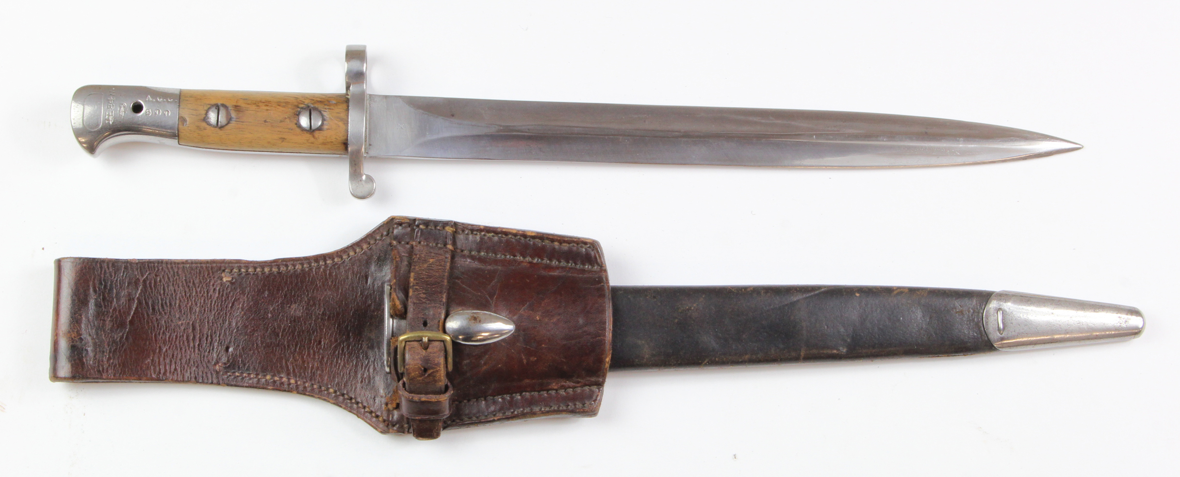 "Lot 1042 - Bayonet - a good P'03 Short Bayonet for the SMLE. Blade 12"" profuse inspection stamps, ricasso"