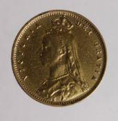 Half Sovereign 1892 ex-mount polished Fine.