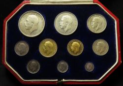 Proof Set 1911 (10 coins) Sovereign to Maundy Penny, aFDC with original case.