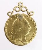 Guinea 1791 Fair, plugged and mounted as pendant.