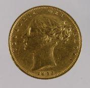 Sovereign 1853 (Shield). VF or better