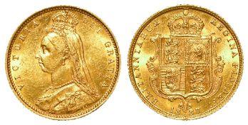 Half Sovereign 1887M, Jubilee hd, Melbourne Mint, Australia, close JEB initials, S.3870A, GEF,