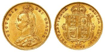 Half Sovereign 1887 Jubilee hd, normal spread JEB initials, S.3869, lightly toned GVF