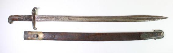 Bayonet scarce 1855 pattern Lancaster sword bayonet with fragile scabbard.