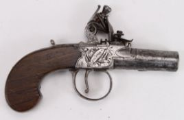 """Flintlock boxlock pocket pistol by H Nock, London. Engraved side panels with stand of arms and """"H."""
