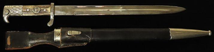 German Nazi Police Parade bayonet, high officer version with oakleaf crossguard, bone handle,
