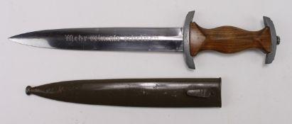 German NPEA Students dagger, with correct green scabbard, Mehr Sein als Acheinen motto and Karl