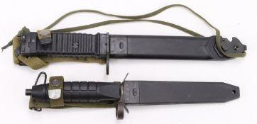 Bayonets, modern, for Sub Machine Guns / Semi - Auto Military Rifles. 1) German H&K G3, and 2)