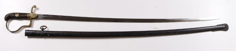 """German Nazi Army Officers Sword, slim single edged fullered blade 31.5"""". Blade maker marked 'A.W."""