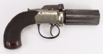"""Fine English Pepperbox Revolver by Marrison of Norwich. Six shot revolving 3"""" barrel, approx .34"""