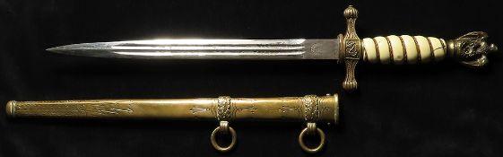 German Nazi Naval Dagger with scabbard. Blade maker marled 'E u F Horster Solingen'. Grip cracked