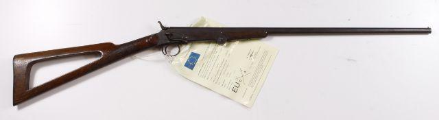 "Belgian .410 Cal single barrel shotgun SN:16336. Barrel 23"", sporting stock, side leaver."