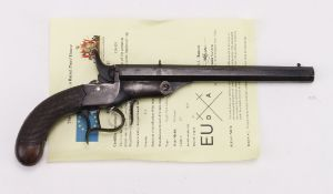 "Flobert type .22 cal Saloon Pistol, octagonal barrel 8"", bag shaped chequered grips with silver"
