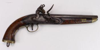 Early 19th Century Belgian Sea Service, Flintlock Pistol, swan neck cock. Belgian proof to barrel.