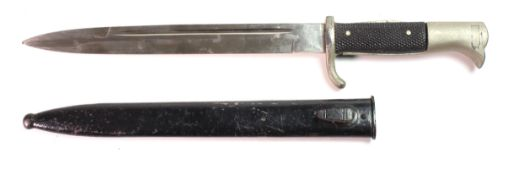 """German M1938 long dress bayonet, polished 10"""" blade with """"WKC"""" & helmet logo to ricasso. In its"""