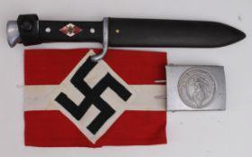 German Nazi Hitler Youth knife, armband, and belt buckle. (3)