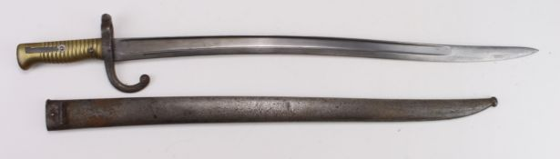 Bayonet, a French Model 1866 Chasspot Sabre bayonet in its steel scabbard. Made at Tulle in